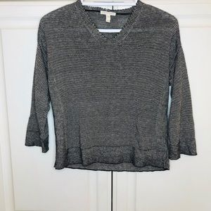 Eileen Fisher Knitted Black Striped linen pullover